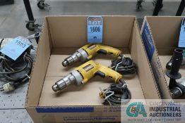 (LOT) (2) 3/8'' DEWALT MODELS DW2239 VSR PISTOL GRIP DRILLS