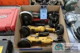 (LOT) (4) 4.5'' MISCELLANEOUS ELECTRIC ANGLE GRINDERS (2) DEWALT, (1) MILWAUKEE AND (1) METABO