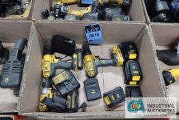 (LOT) (2) DEWALT CORDLESS DRILLS AND DEWALT CORDLESS SCREWDRIVERS WITH CHARGERS