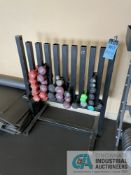 10-SLOT FREE WEIGHT RACK WITH FREE WEIGHTS **ATTN: This lot is located on the second floor.