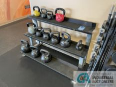 KETTLE BELL RACK WITH MISCELLANEOUS WEIGHTED KETTLE BELLS **ATTN: This lot is located on the