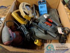 (LOT) ELECTRIC HAND TOOLS: SKILL 4339 JIGSAW, BLACK & DECKER CIRCULAR SAW, CHICAGO PALM SANDER