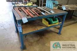 """36"""" X 60"""" X 35"""" HIGH X 3/8"""" THICK STEEL TOP PLATE FOUR POST WELDED STEEL TABLE **DELAYED REMOVAL -"""