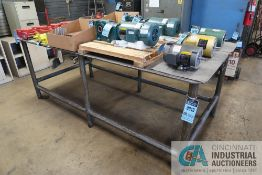 """48"""" X 96"""" X 36-1/2"""" HIGH X 3/8"""" THICK STEEL TOP PLATE SIX POST WELDED STEEL WORK BENCH **DELAYED"""