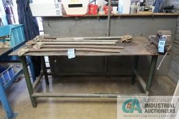 """30"""" X 72"""" X 35"""" HIGH X 1/2"""" THICK STEEL TOP PLATE FOUR POST WELDED STEEL WORK BENCH WITH 4-1/2"""""""