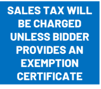 Sales Tax will be Charged unless a Arkansas Exemption Form is Provided