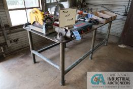 """48"""" X 96"""" X 37"""" OVERALL HEIGHT AND 1/2"""" THICK STEEL TOP PLATE SIX POST WELDER STEEL TABLE WITH 4"""""""