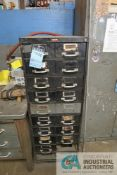 (LOT) MISCELLANEOUS HARDWARE WITH DOUBLE DRAWER CABINET