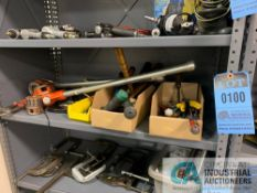 (LOT) MISC. TOOLS TOOLS INCLUDING; PIPE THREADERS, BOLT CUTTERS, SCREWDRIVERS, MALLETS, NUT