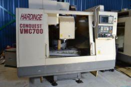 HARDINGE (1998) VERTICAL MACHINING CENTER MOD: VMC-700 CONQUEST, 19'' X 40'' TABLE, 21 POSITION ATC,
