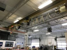 OVERHEAD CRANE 32'SPAN WITH 50' SELF SUPPORTING STRUCTURE W/ (2) 2 TON ELECTRIC HOIST