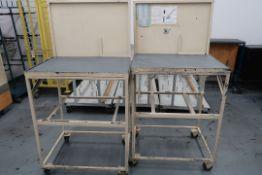 METAL TABLES ON WHEELS