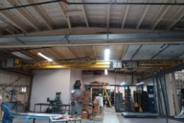 PRO-ACTION 2 X 1TON DOUBLE GIRDER OVERHEAD CRANE, 37'X64' TOP RUNNING, WITH STRUCTURE AND FEED RAIL