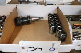 Lyndex Cat 40 ER collet holder w/ collets