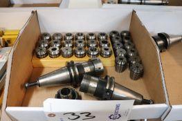 Lyndex Cat 40 ER collet holders w/ collets