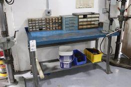 Steel workbench w/ Starrett vise & bins