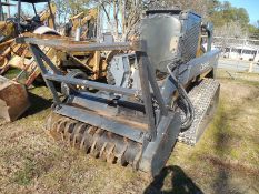 DEERE 333D rubber track skid steer, cab, rear winch, with mulching head,  2388 hrs vin#