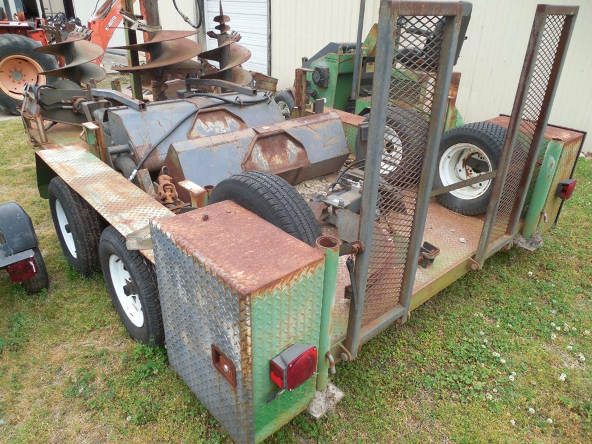 Power Trac PT-2425 Mini Skid Steer ser# 18928 with trailer, power rake, tree spade, front bucket, - Image 10 of 13