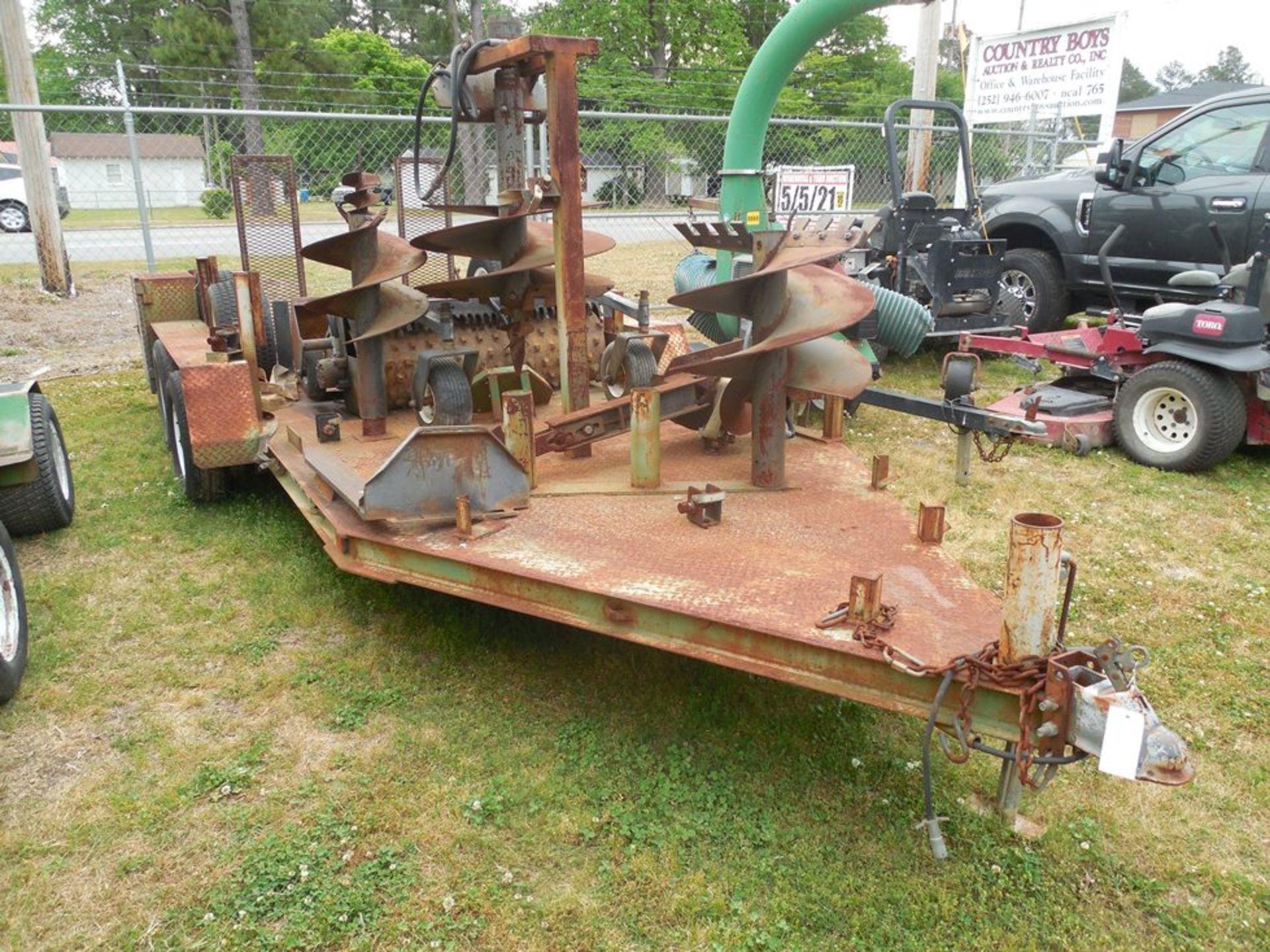Power Trac PT-2425 Mini Skid Steer ser# 18928 with trailer, power rake, tree spade, front bucket, - Image 7 of 13