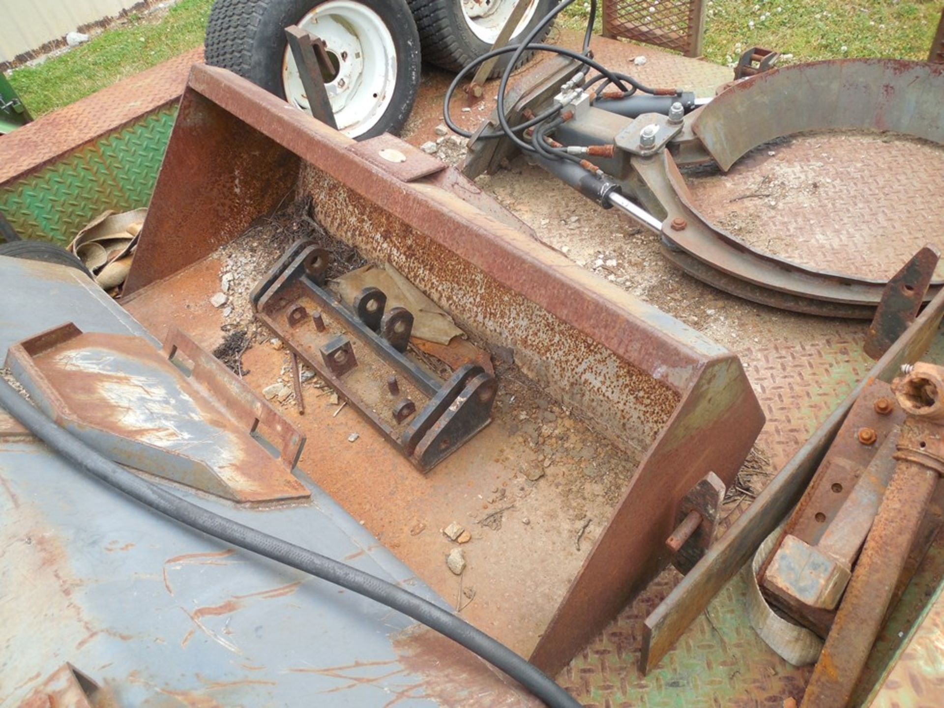 Power Trac PT-2425 Mini Skid Steer ser# 18928 with trailer, power rake, tree spade, front bucket, - Image 12 of 13