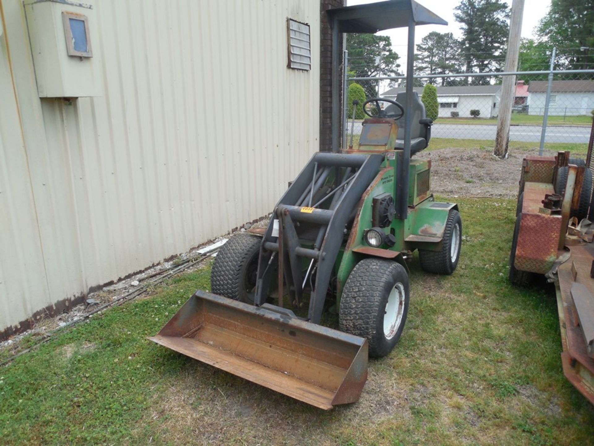 Power Trac PT-2425 Mini Skid Steer ser# 18928 with trailer, power rake, tree spade, front bucket, - Image 2 of 13