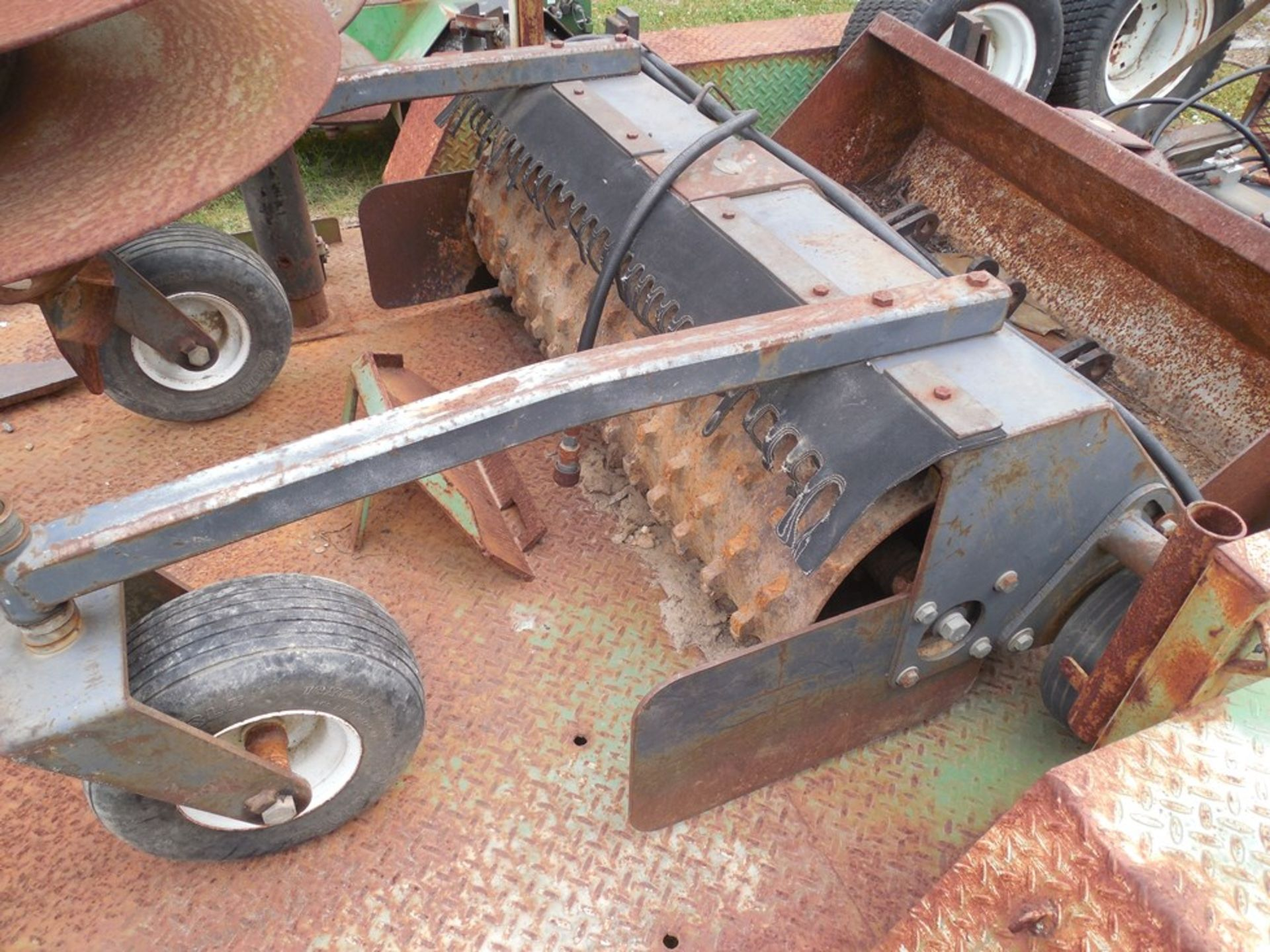 Power Trac PT-2425 Mini Skid Steer ser# 18928 with trailer, power rake, tree spade, front bucket, - Image 13 of 13