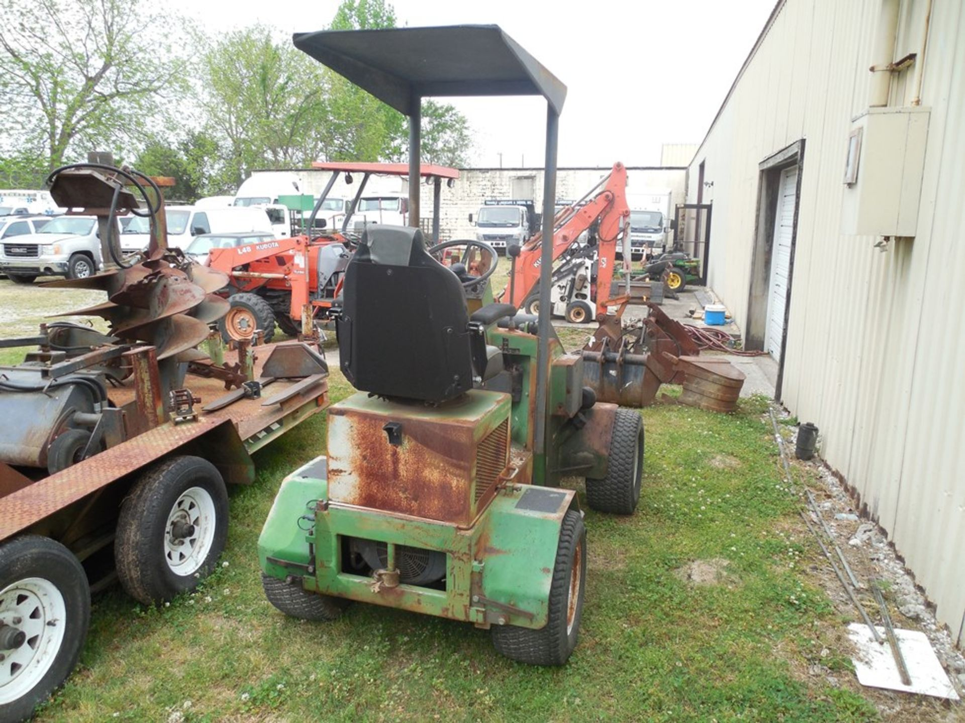 Power Trac PT-2425 Mini Skid Steer ser# 18928 with trailer, power rake, tree spade, front bucket, - Image 4 of 13