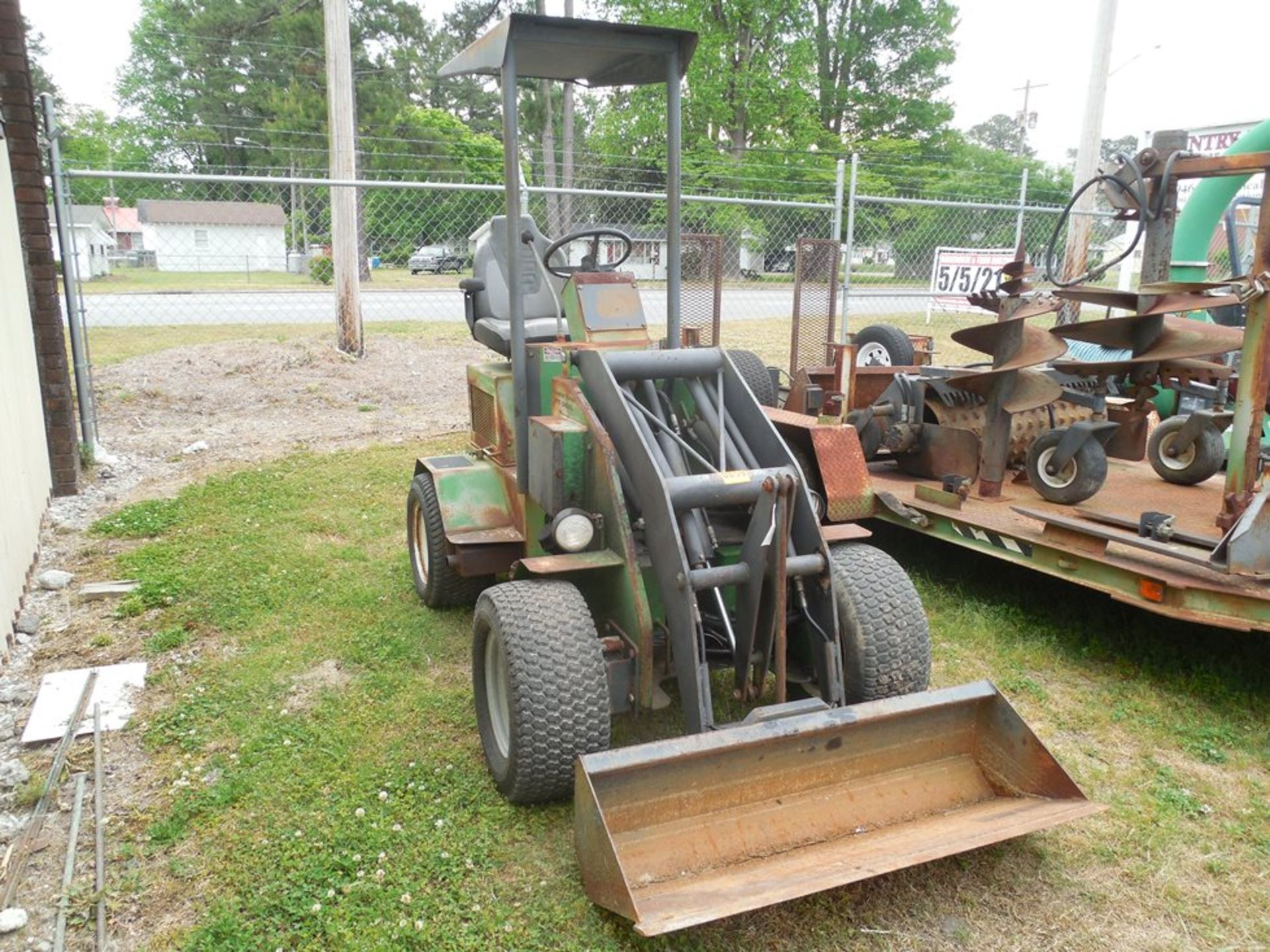 Power Trac PT-2425 Mini Skid Steer ser# 18928 with trailer, power rake, tree spade, front bucket, - Image 3 of 13