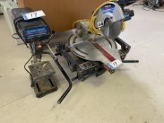 DELTA 10IN SLIDING COMPOUND MITRE SAW (NOTE: NO GUARDS ON BLADE), KING BENCH TOP DRILL PRESS -