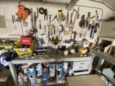 L/O HAND TOOLS ON WALL & BENCH
