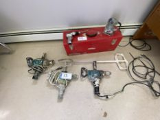 L/O 3 - 1/2IN MAKITA DRILLS USED FOR MIXING, ALL TESTED, PNEUMATIC DRILL, PORTER CABLE PALM SANDER