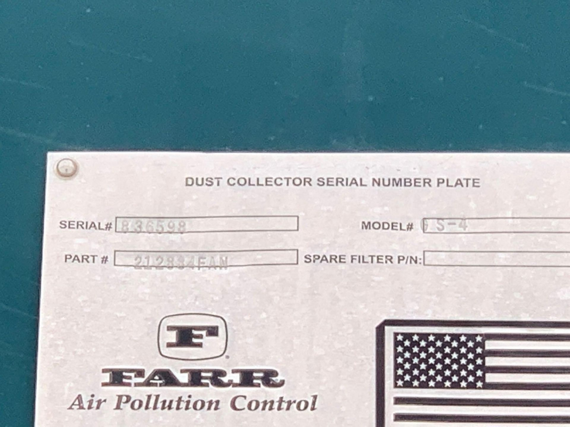 Farr Dust Collector Model GS-4 Serial Number: 836598 Part Number: 212834FAN - Image 10 of 10