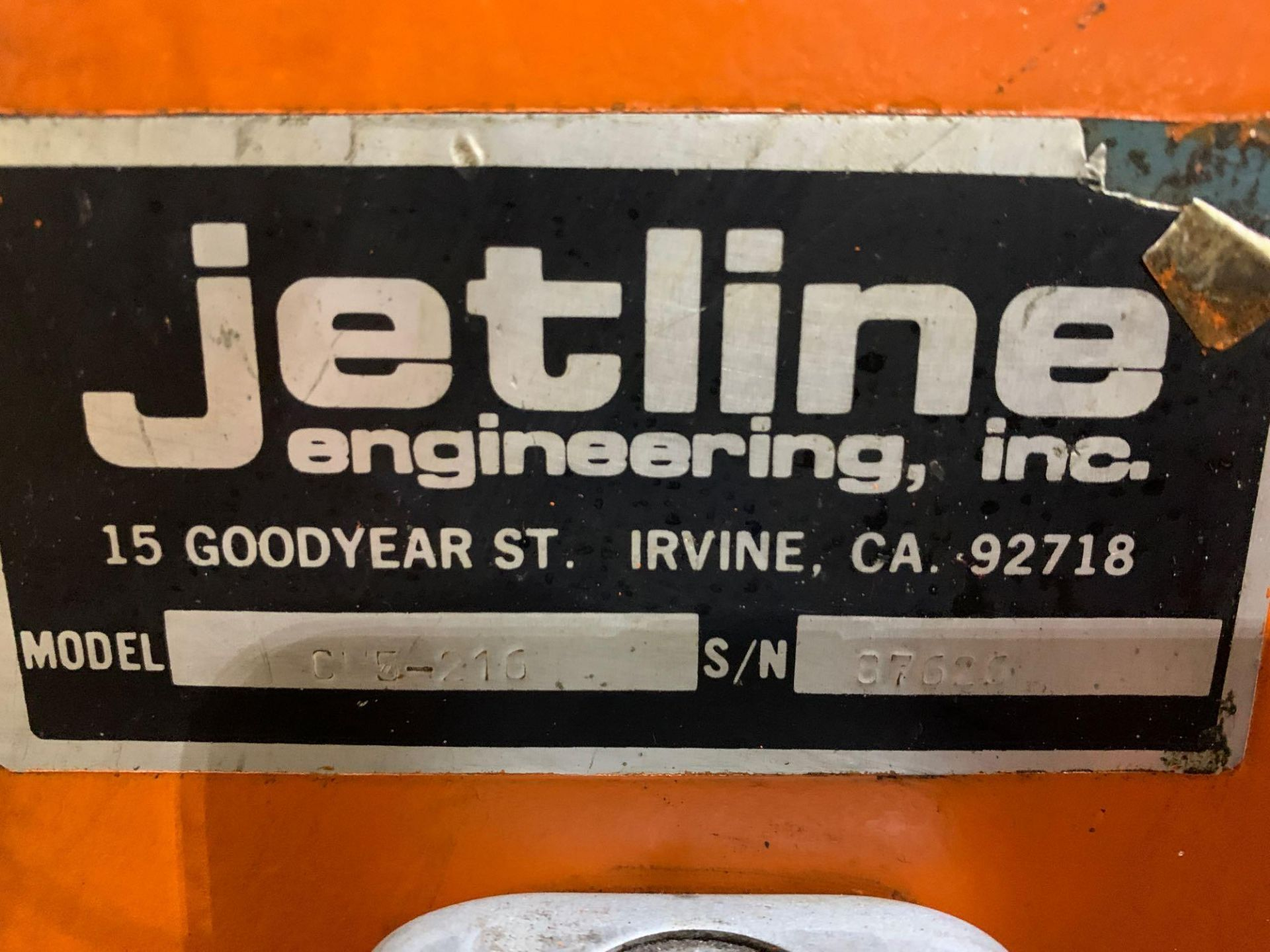 Jetline Welding Positioner Model CU5-216 Serial Number: 07625 Pipe Weld Positioner with Tail Stock I - Image 14 of 15