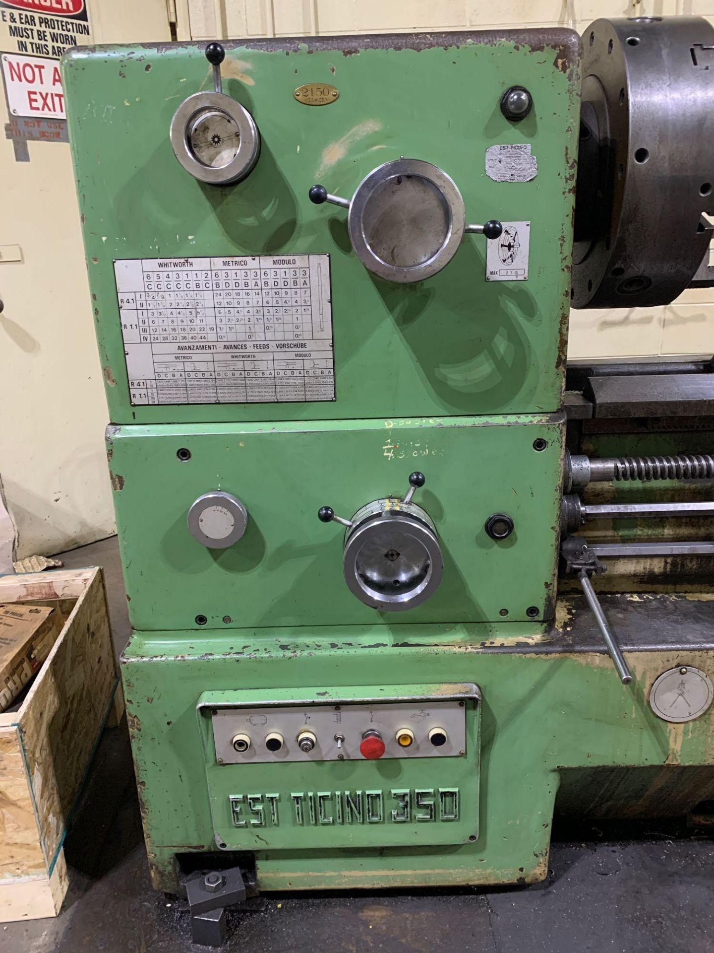 """Est Ticino Heavy Duty Gap Bed Engine Lathe Model: ETS-350 Serial Number: 1943 Rated Capacity: 27"""" x - Image 7 of 31"""