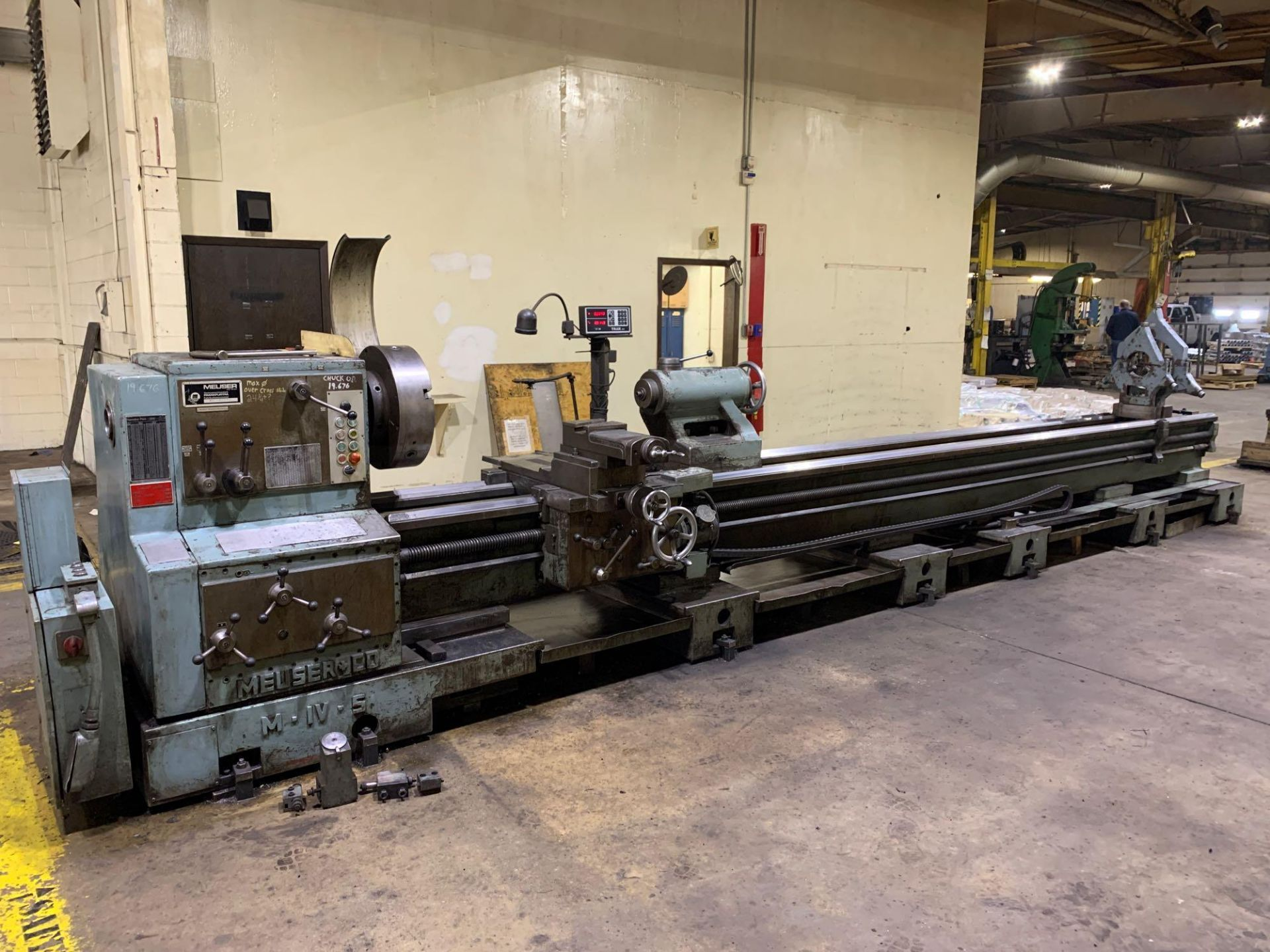"""Meuser Heavy Duty Gap Bed Engine Lathe Model: M IV S Serial Number: 45377 Rated Capacity:32""""/45"""" x"""