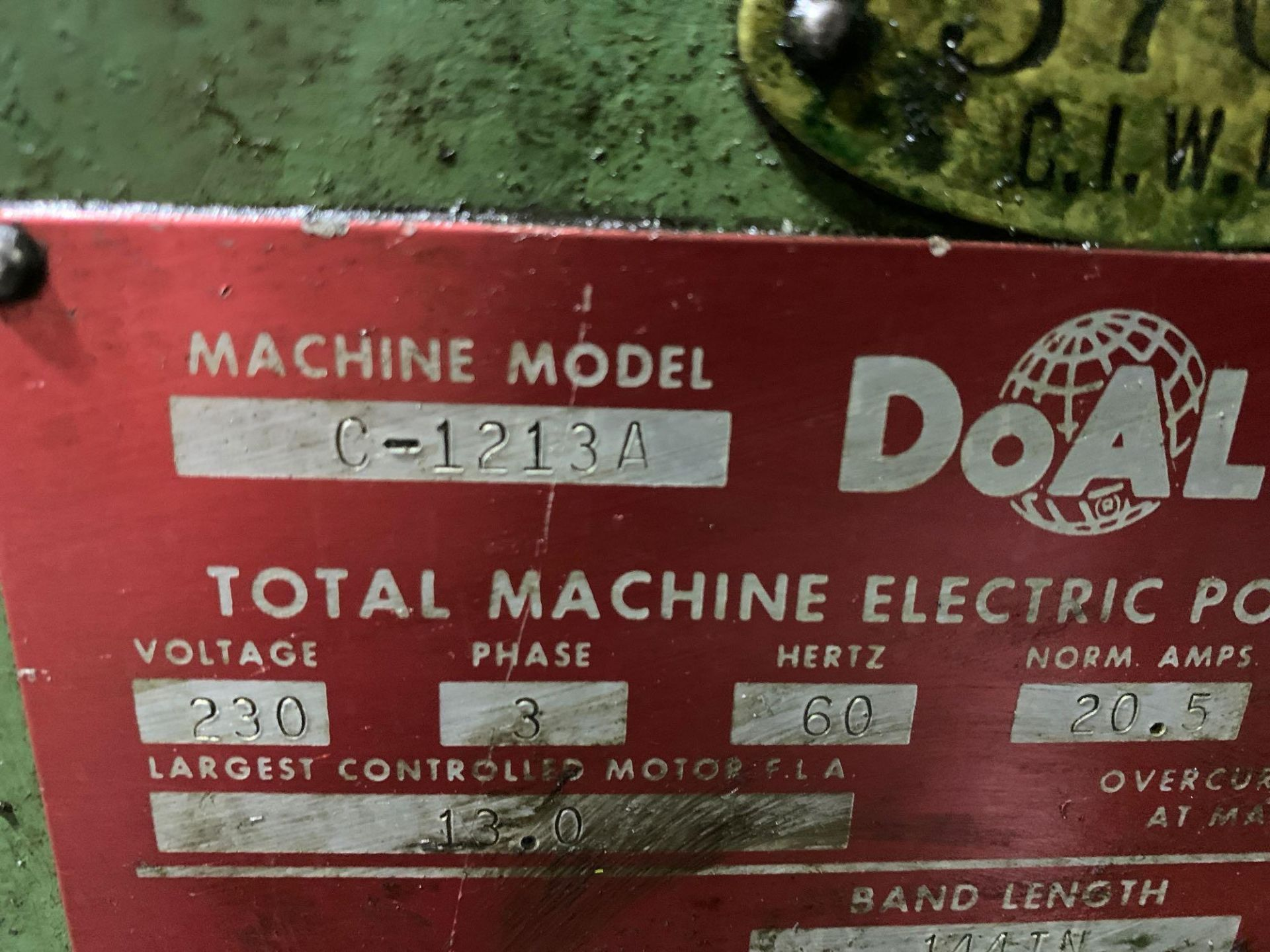 DoAllSemi-Automatic Horizontal Band Saw Model: C-1213a s/n: 412-84212 made in the usa capacity: rec - Image 15 of 16