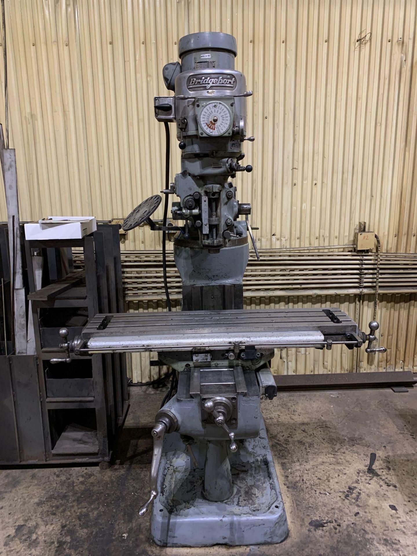 "Bridgeport 2J Vertical Milling Machine Variable Speed Head S/N 132833 CAPACITIES Table size: 9"" X 42 - Image 3 of 12"