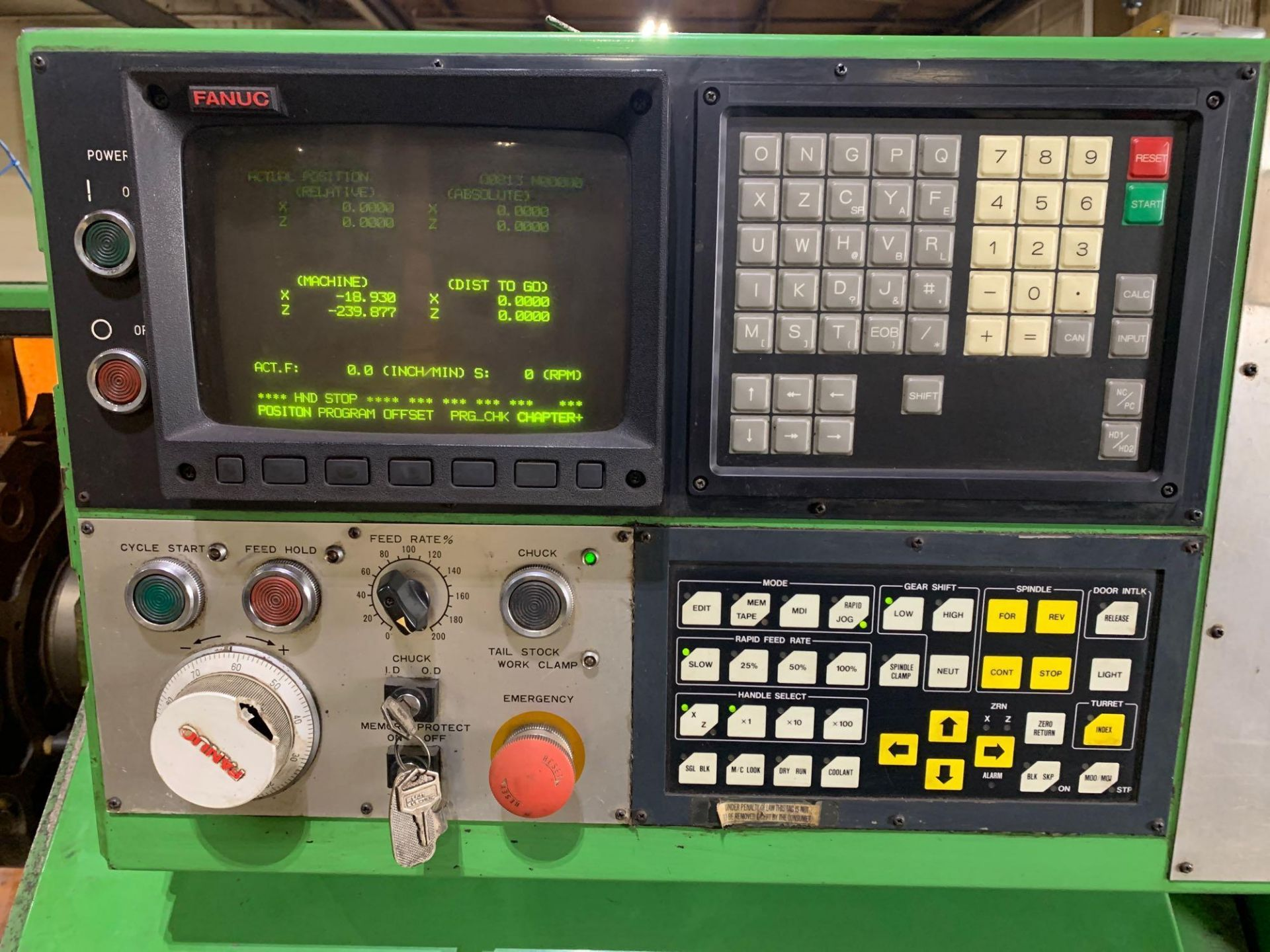 IKEGAI AX-15Z CNC Slant Bed Turning Center Serial Number: 50130V 2-Axis Machine Fanuc 10T Control 12 - Image 7 of 18