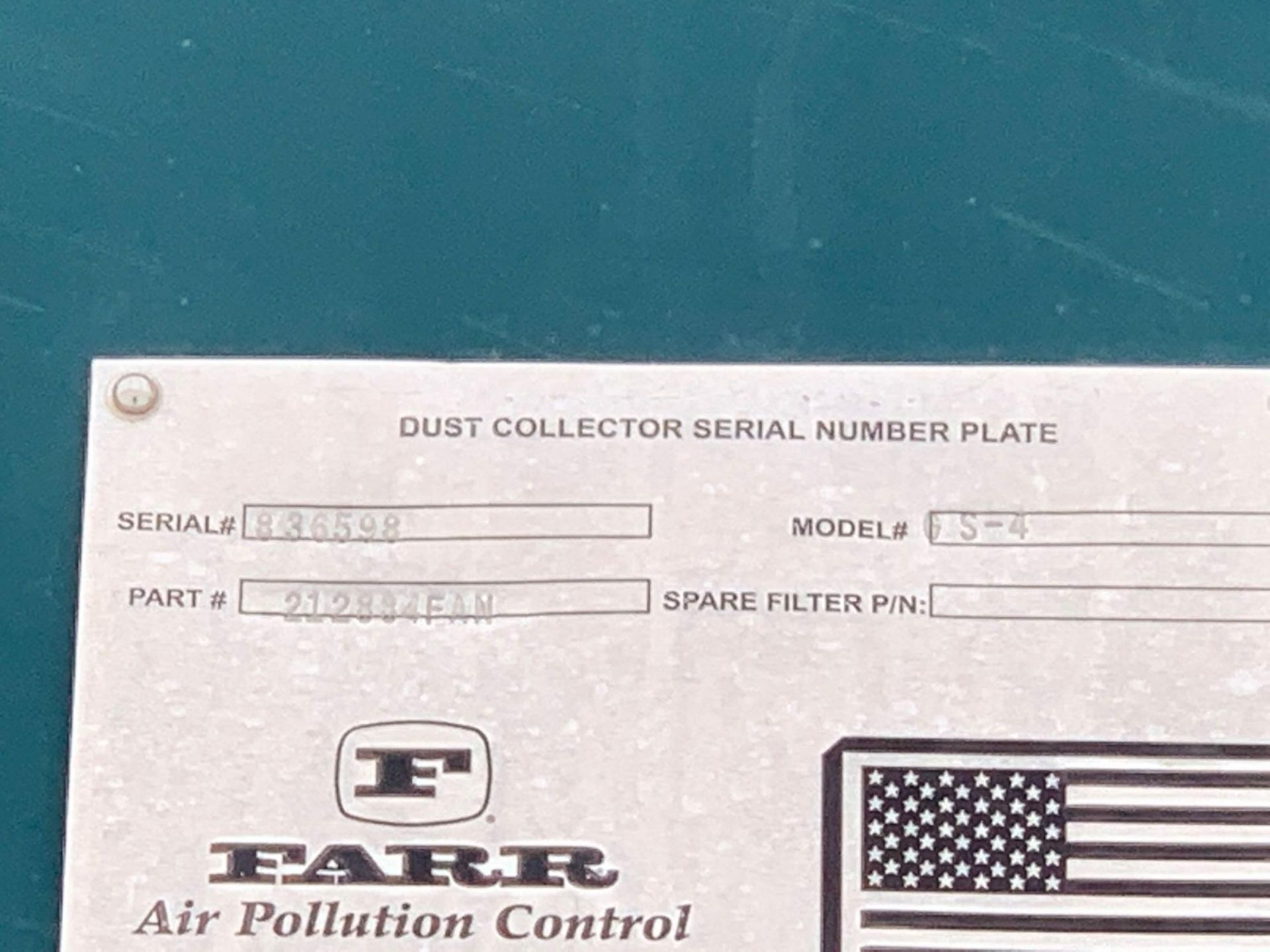 Farr Dust Collector Model GS-4 Serial Number: 836598 Part Number: 212834FAN - Image 9 of 10