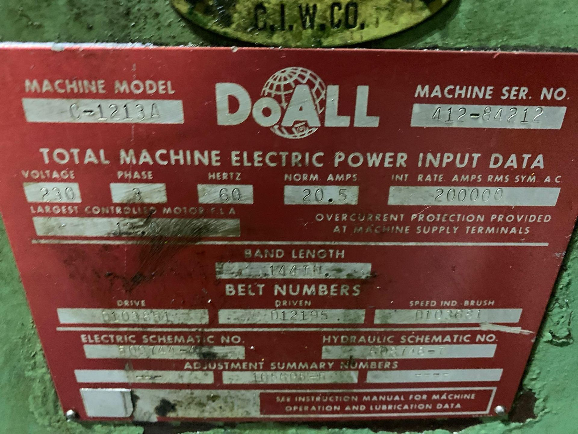 DoAllSemi-Automatic Horizontal Band Saw Model: C-1213a s/n: 412-84212 made in the usa capacity: rec - Image 14 of 16