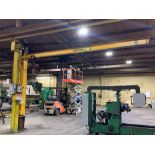 1-Ton Pillar Mount Jib Crane with Overbrace 1-Ton CM Loadstar wired 480V 3-phase Approx 17' Arm & 13