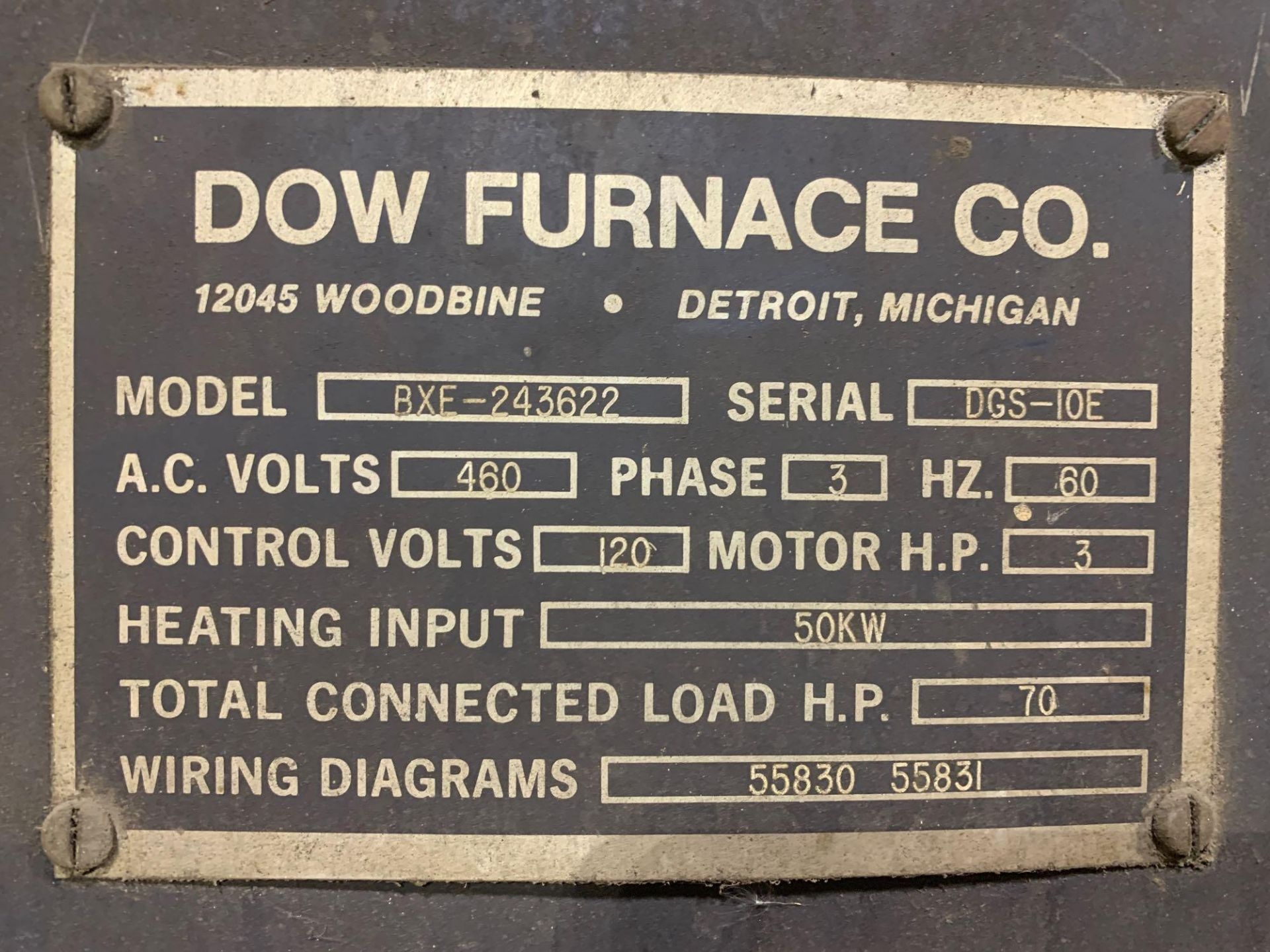 Dow Furnace Co. Electric Draw Furnace Seller States It Will Do At Least 1200 Degrees Model Bxe-24362 - Image 12 of 21
