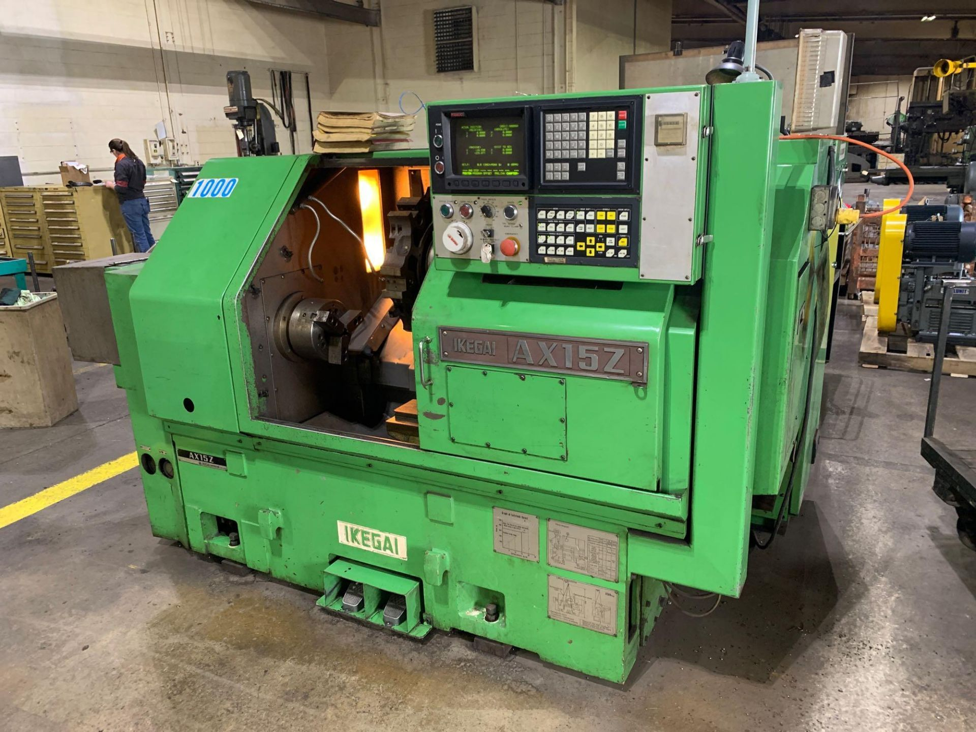 IKEGAI AX-15Z CNC Slant Bed Turning Center Serial Number: 50130V 2-Axis Machine Fanuc 10T Control 12 - Image 3 of 18
