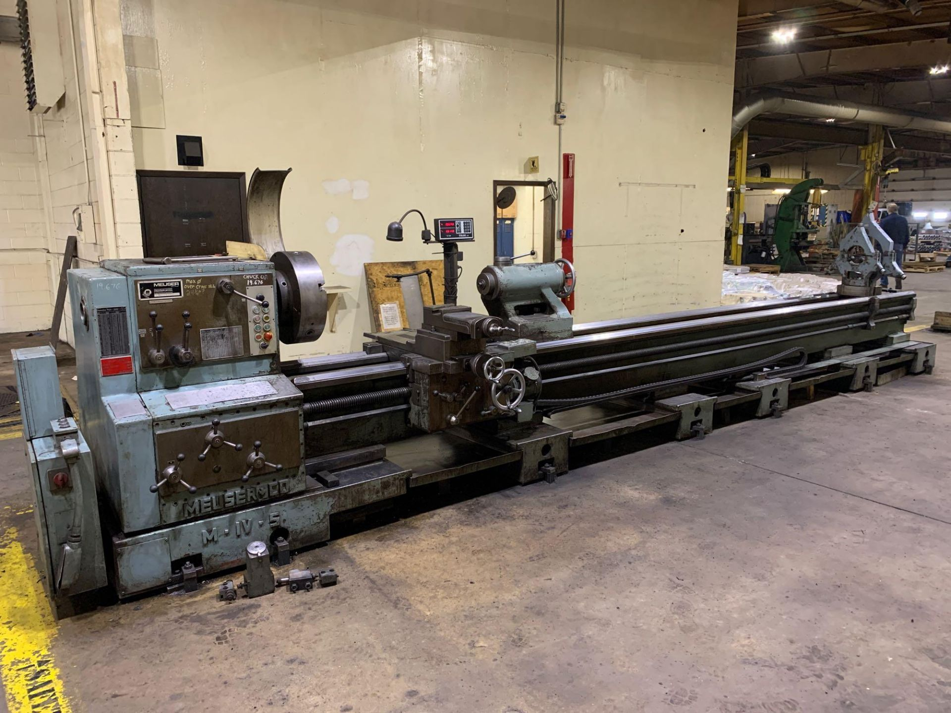 """Meuser Heavy Duty Gap Bed Engine Lathe Model: M IV S Serial Number: 45377 Rated Capacity:32""""/45"""" x - Image 20 of 35"""