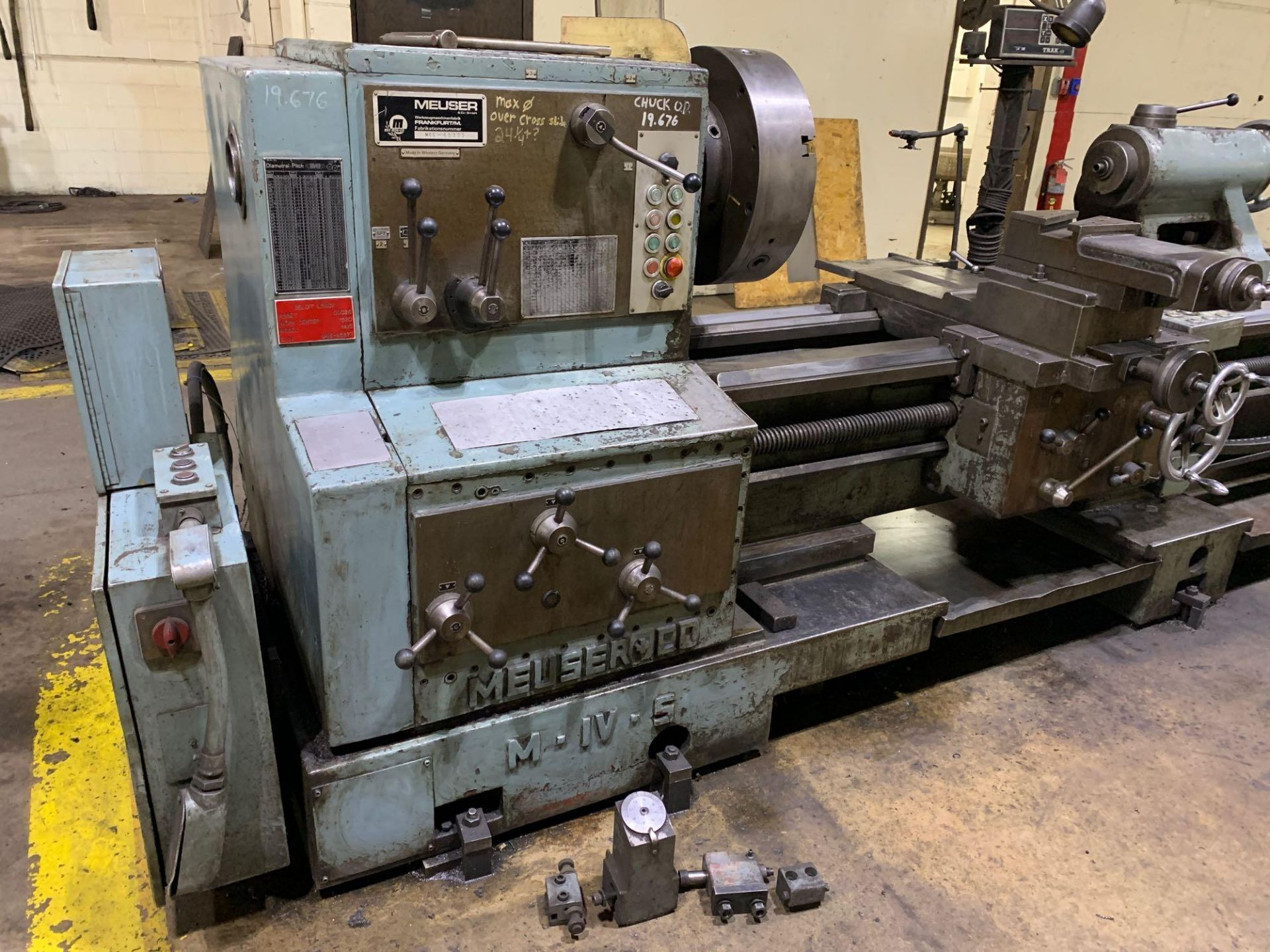"""Meuser Heavy Duty Gap Bed Engine Lathe Model: M IV S Serial Number: 45377 Rated Capacity:32""""/45"""" x - Image 7 of 35"""