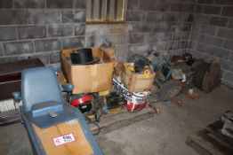 Contents of (2) Pallets & Floor- Hydraulic Power Units, Various Electrical Wire, Electric Motors,