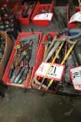 Contents of (2) Containers- Misc. Hand Tools, Screw Drivers, Hammers, Hack Saws, Etc.