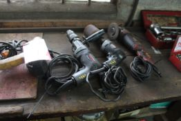 """(1) 3/8"""" Electric Drill (1) 1/2"""" Electric Drill (1) 4.5"""" Angle Grinder (1) Electric Impact Wrench"""