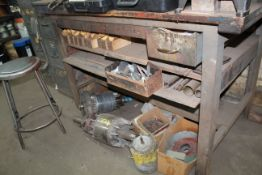Table & Contents: Various Motor Parts, Pipes, Paper, (2) 4 Drawer Metal File Cabinets, Etc.