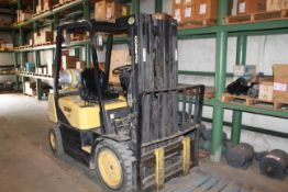 """Daewoo Model G25P 5000lb Capacity, 173"""" Lift, Solid Tired LP Gas Forklift w/ Side Shift"""